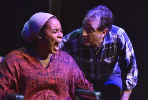 "Chantel Deniese and Joe Dalo in the play ""Jack Ruby is My Idol"" one of the three plays in ""A 60's Trilogy"" written by Tommy Carter, directed by David Fofi. Produced by USVAA Veterans Repertory. A guest production at The New American Theatre.  Photo by Joel Daavid"