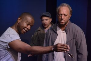 "Tony Williams, Mark Adair Rios and Scott Krinsky in the play ""Raw Open Wound,"" one of the three plays in ""A 60's Trilogy"" written by Tommy Carter, directed by David Fofi. Produced by USVAA Veterans Repertory.  Photo by Joel Daavid"